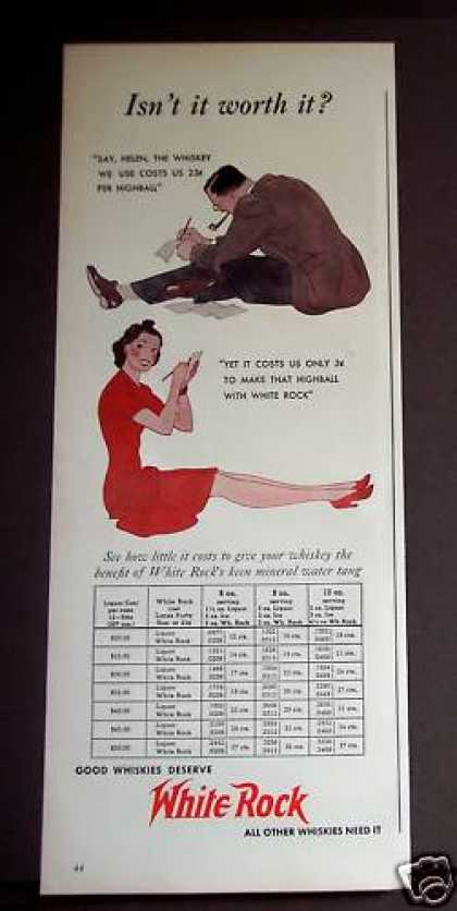 Only 3cents Per Highball W/ White Rock Whiskey (1939)