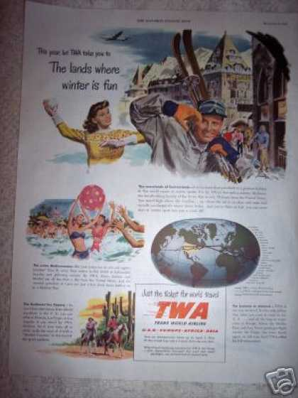Twa Airline Winter Fun Travel (1948)