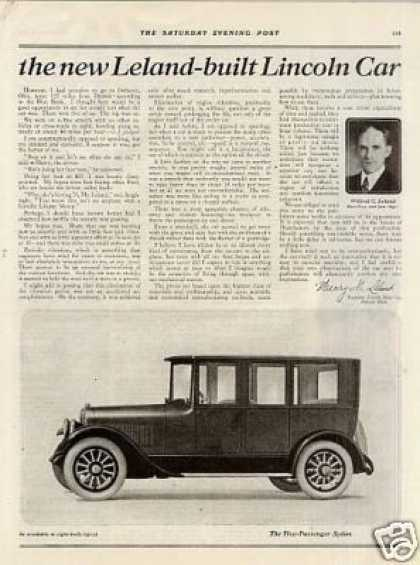 Lincoln Sedan & Touring Car Ad 2 Page (1921)
