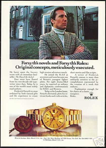 Rolex Day Date Watch Frederick Forsyth Photo (1988)