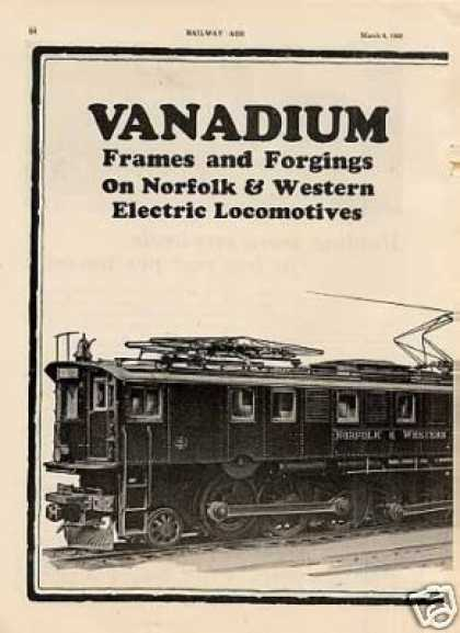 Vanadium 2 Pg Ad Norfolk & Western Alco Electrics (1926)
