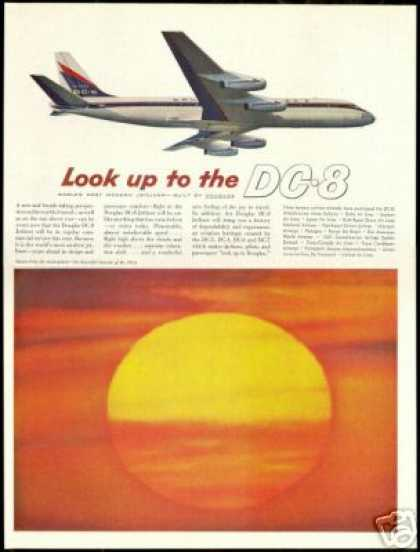 Douglas DC-8 DC8 Jetliner Airplane Sunset Photo (1959)