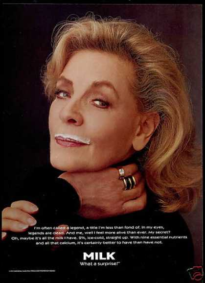 Lauren Bacall Photo Milk Promo Board (1995)