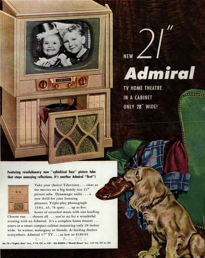 "Admiral Corporation's Television/Phonograph/Radio combination – New 21"" Admiral TV Home Theatre in a Cabinet Only 28"" Wide (1952)"