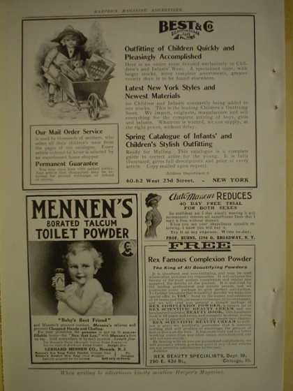 Mennen's Borated Talcum Toilet Powder AND Best and Co Children's clothing (1909)