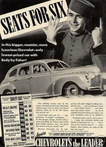 "Chevrolet Car Ad ""Seats for Six... (1941)"