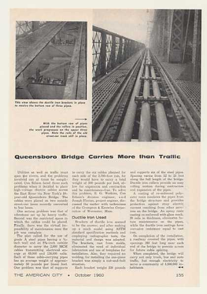 Queensboro Bridge Electric Cable Pipes Article (1960)