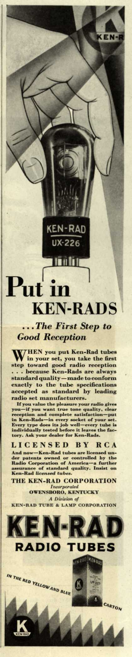 Ken-Rad Radio Tube's Radio Tubes – Put in KEN-RADS... The First Step to Good Reception (1929)
