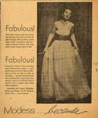Modes's Sanitary Napkins – Modess...because (1952)
