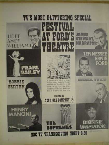 Festival at Ford's theater. Andy Williams, Henry Mancini (1970)