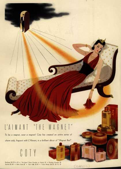 "Coty's L'aimant Cosmetics – L'aimant ""the Magnet"" (1940)"