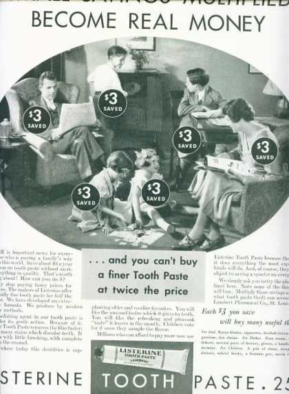 Listerine Tooth Paste Big Family Savings (1933)