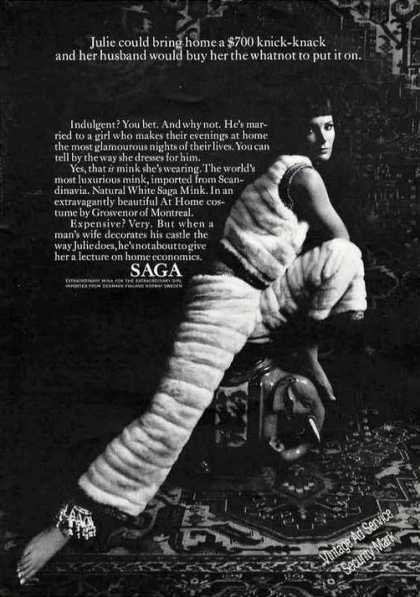 "Natural White Saga Mink Clothing ""Indulgent?"" (1967)"
