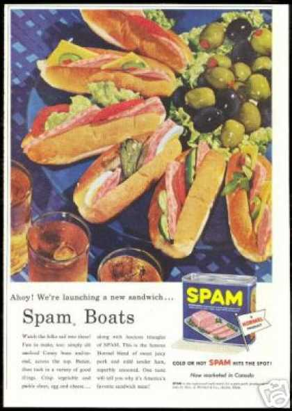 Hormel Spam Boats Sandwiches Meat (1957)