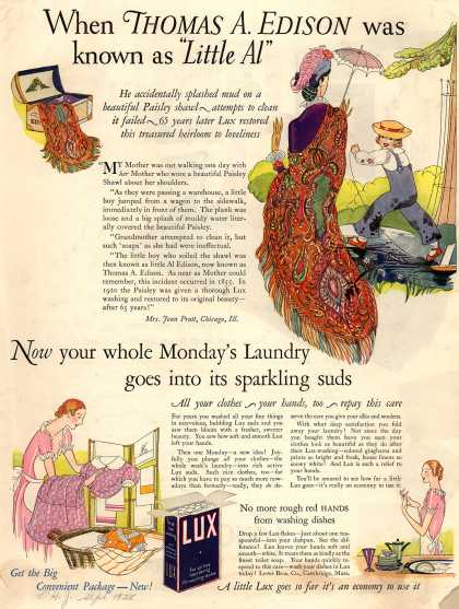 "Lever Bros.'s Lux (laundry flakes) – When Thomas A. Edison was known as ""Little Al"" (1925)"