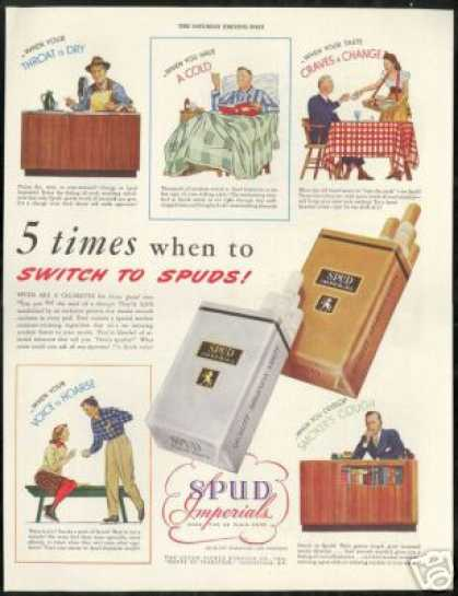 Spud Imperial Cigarettes When to Switch Vintage (1943)