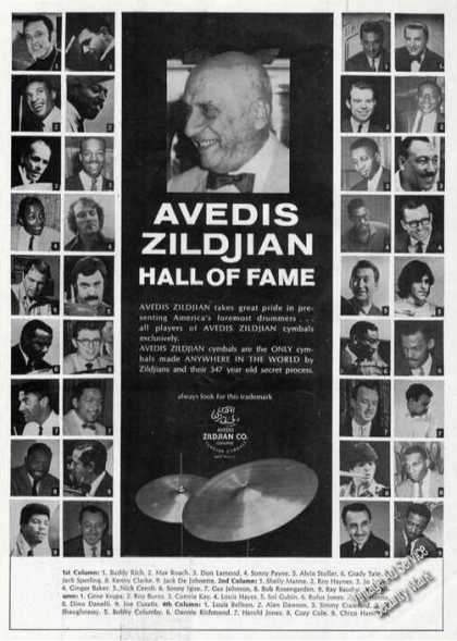 Avedis Zildjian Hall of Fame 36 Artist Photos (1970)