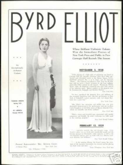 Byrd Elliot Violinist Photo Reviews Booking (1939)
