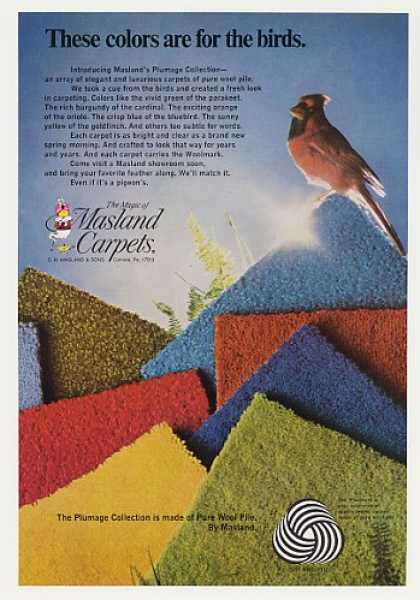 Masland Carpet Plumage Collection Cardinal Bird (1970)