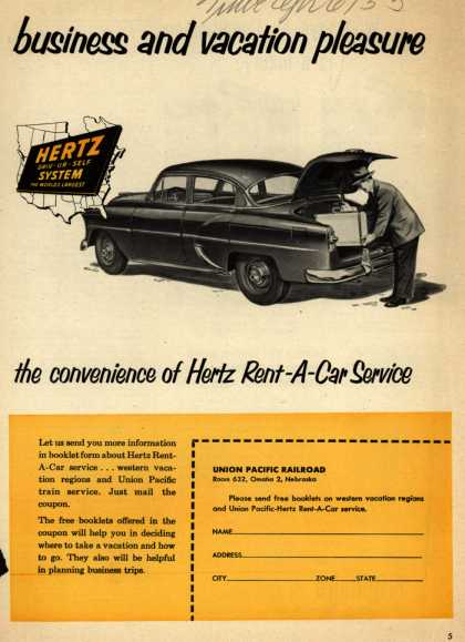 Hertz's Rent-a-Car service – Business and vacation pleasure.. the convenience of Hertz Rent-A-Car Service (1953)