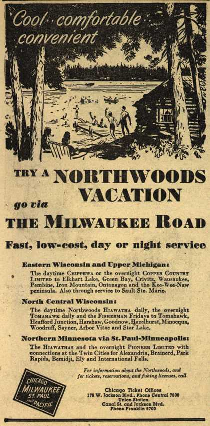 Milwaukee Road's Wisconsin and Minnesota – Cool..comfortable..convenient (1947)