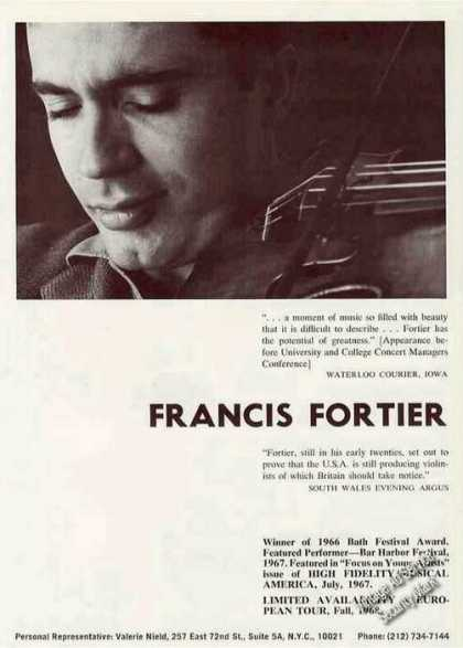 Francis Fortier Photo Violinist Booking (1967)