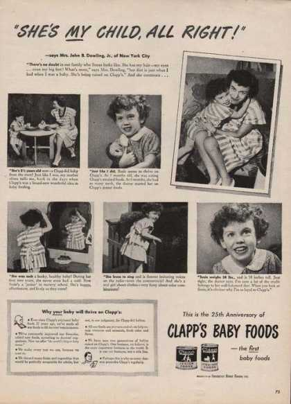 She's My Child Clapps Baby Food (1946)