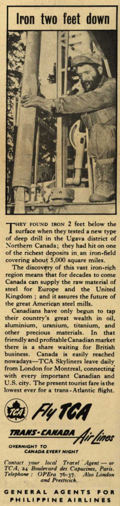 Trans-Canada Air Lines – Iron two feet down