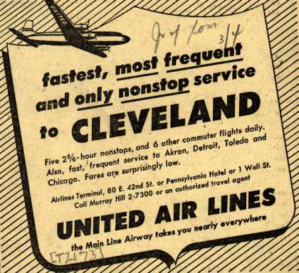 United Air Line's Cleveland – fastest, most frequent and only nonstop service to CLEVELAND (1948)