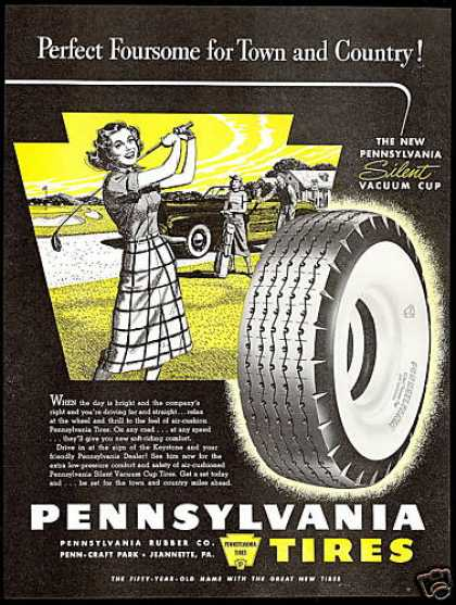 Pretty Woman Golfer Golf Pennsylvania Tires (1948)