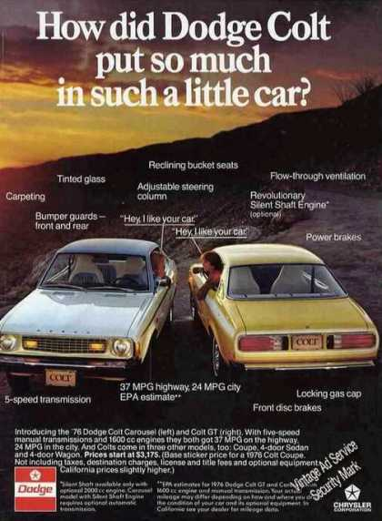 """How Did Dodge Colt Put So Much In"" Car (1976)"