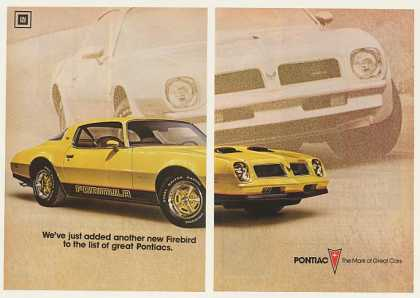 '75 1976 Yellow Pontiac Firebird Formula (1975)