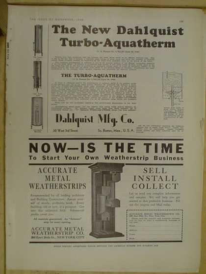 Dahlquist Turbo Aquatherm AND Accurate Metal Weatherstrip Co (1930)