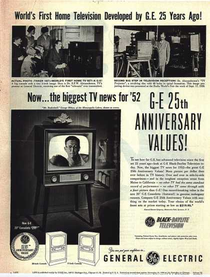 General Electric Company's Black-Daylight Television – World's First Home Television Developed by G.E. 25 Years Ago (1952)