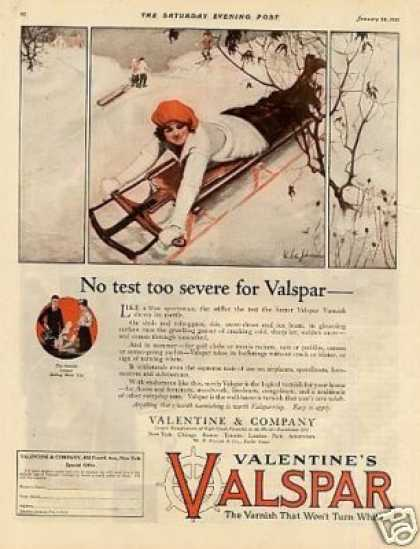 "Valentine's Valspar Varnish Ad ""No Test Too Severe (1921)"
