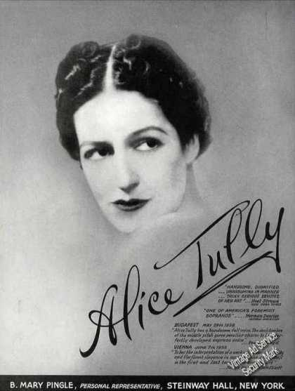 Large Alice Tully Photo Music Booking (1939)