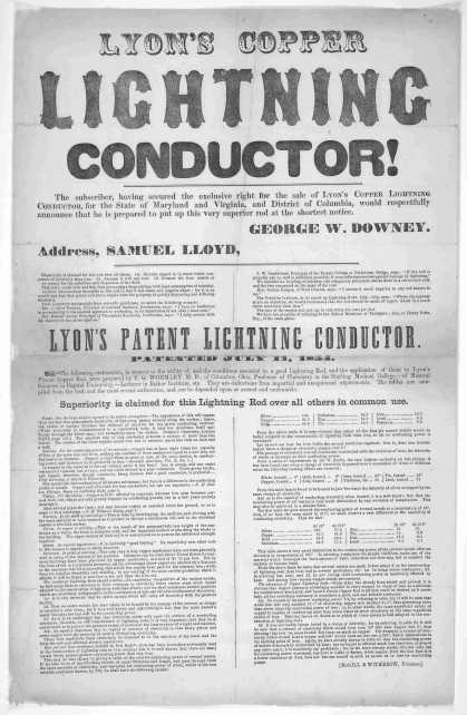 Lyon's copper lightning conductor! The subscriber. having secured the exclusive right for the sale of Lyon's Copper lightning conductor! The subscribe (1854)