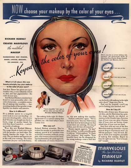 Richard Hudnut's Marvelous Makeup – Now choose your makeup by the color of your eyes (1936)