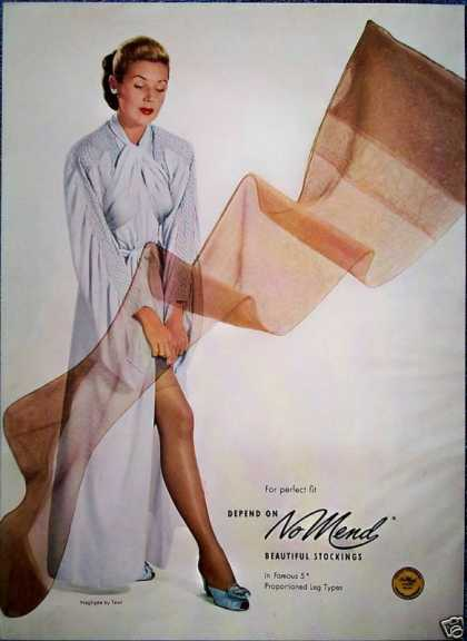 No Mend Stockings Negligee Tewi Sexy Leg Fit (1948)