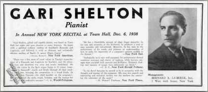 Gari Shelton Photo Pianist Booking (1939)