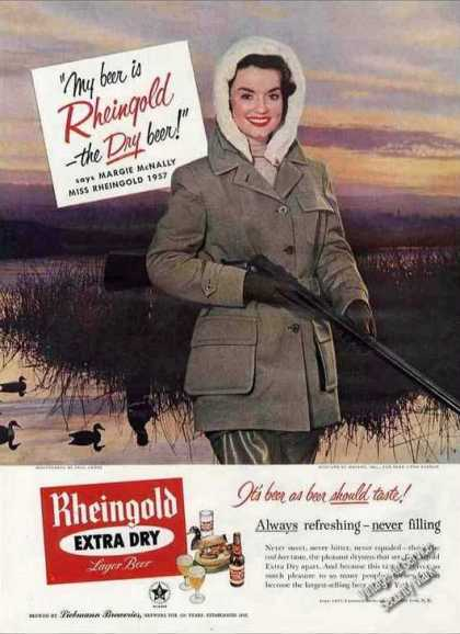 Miss Rheingold Beer Marge Mcnally Ducks Shotgun (1957)