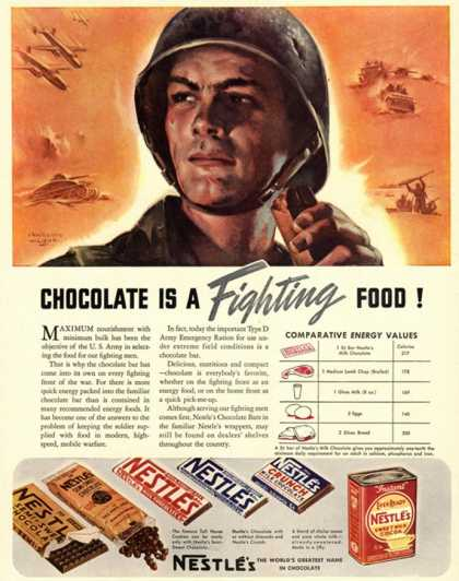Nestle&#8217;s, Propaganda Chocolate Sweets WWII Chocolate Is a Fighting Food, USA (1940)