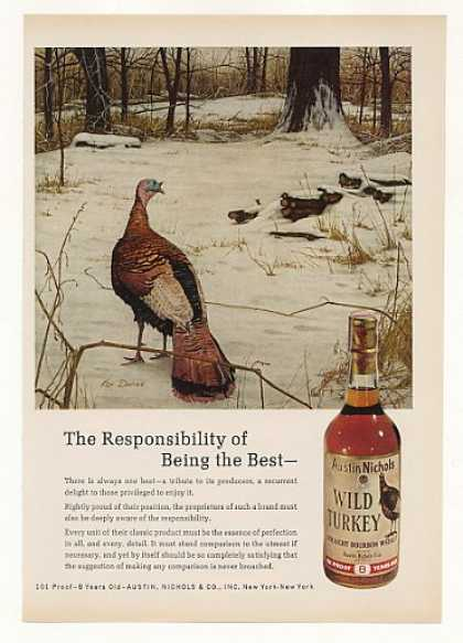 Wild Turkey Whiskey Snow Scene Ken Davies art (1971)