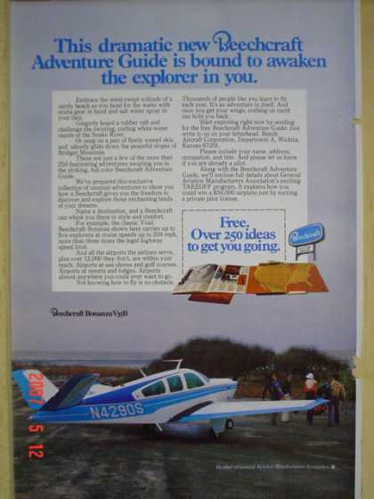 Beechcraft Airplanes Plane Adventure Guide Awaken the explorer in you (1977)