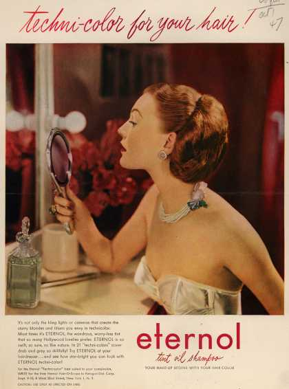 Paragon Distributing Corporation's Eternol Tint Oil Shampoo – techni-color for your hair (1947)