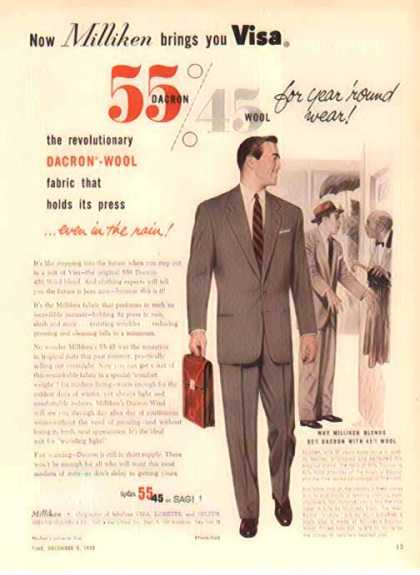 Deering Milliken Fashion – brings you Visa – Dacron & Wool – Sold (1952)