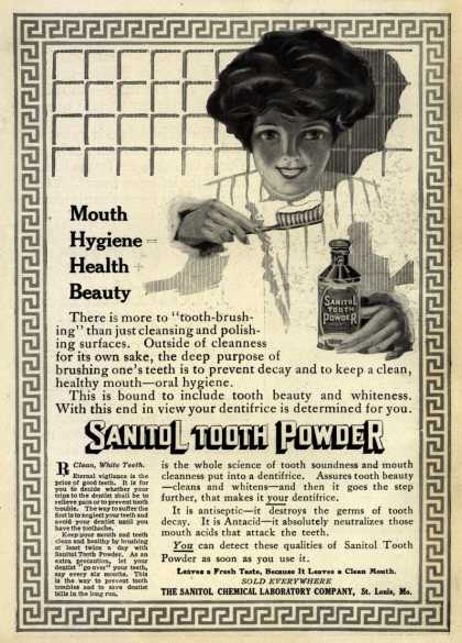 Sanitol Chemical Laboratory Company's Sanitol Tooth Powder – Mouth Hygiene = Health + Beauty