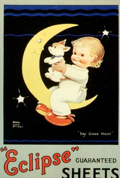 Sleep Eclipse Beds Sheets Moon Babies Baby Sleeping Mabel Lucie Attwell, UK (1920)