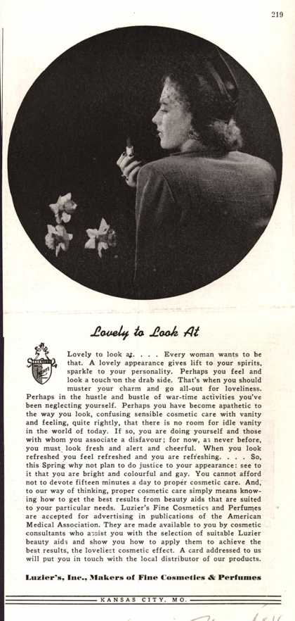 Luzier's Cosmetics and Perfume – Lovely to Look at (1944)