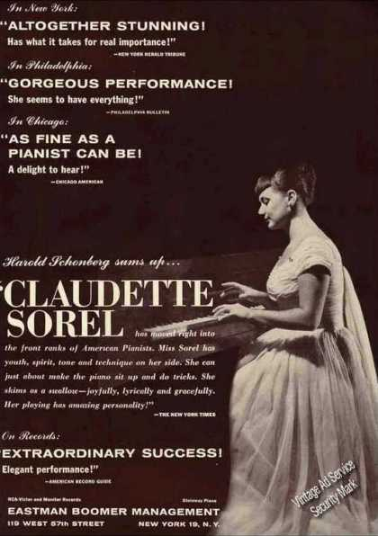 Claudette Sorel Photo Pianist Booking (1962)